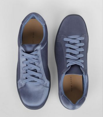Blue Sateen Lace Up Trainers