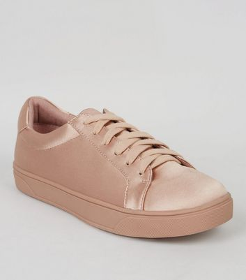 Pink Satin Lace Up Trainers