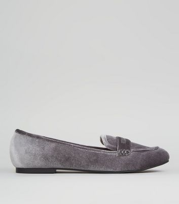 Grey Velvet Loafers