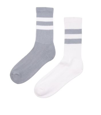 2 Pack Grey and White Contrast Stripe Sports Socks