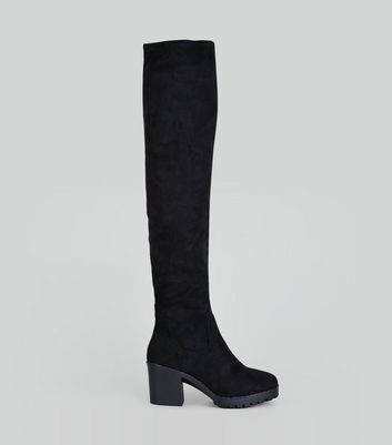 Black Suedette Over The Knee Chunky Boots