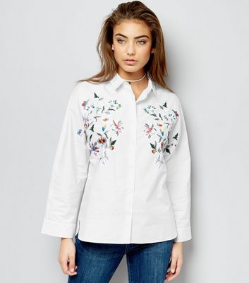 Cream Cotton Floral Embroidered Shirt