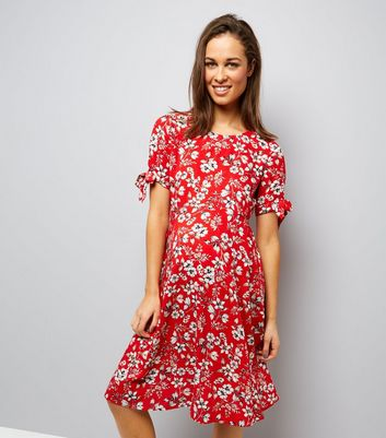 Maternity Red Floral Tie Sleeve Dress