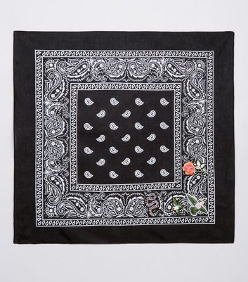 Black Paisley Print Embroidered Badge Bandana