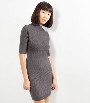 Apricot Grey Funnel Neck Bodycon Dress
