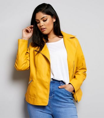 Curves Yellow Leather-Look Biker Jacket