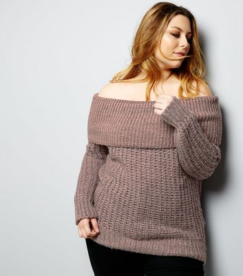 Curves Pink Twisted Yarn Bardot Neck Jumper