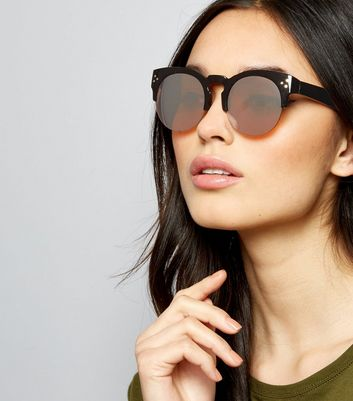 Black Pin Stud Detail Retro Sunglasses