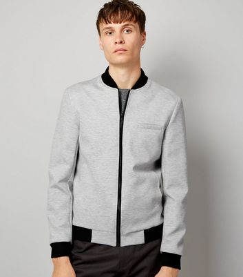 Grey Tailored Jersey Bomber Jacket