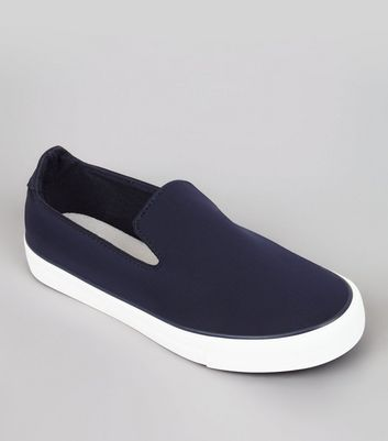 Teens Navy Neoprene Slip On Trainers
