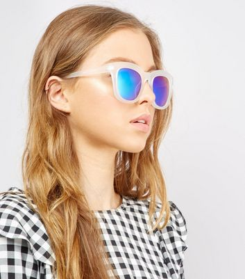 Transparent Blue Chunky Frame Sunglasses