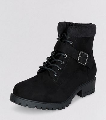 Teens Black Suedette Lace Up Boots