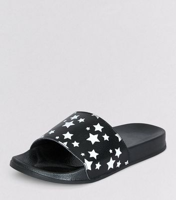 Teens Black Star Print Sliders