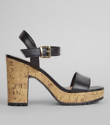 Black Cork Heel Cleated Sole Sandals
