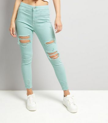 Mint Green High Waist Ripped Knee Skinny Hallie Jeans