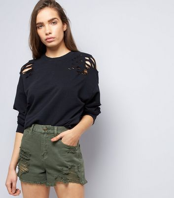Khaki Ripped Fray Hem Denim Shorts