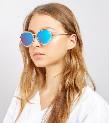 Gold Mirror Lens Cat Eye Sunglasses