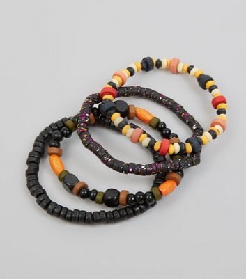 5 Pack Black and Multi Coloured Wooden Bead Bracelets