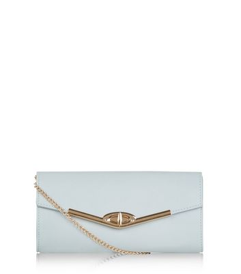 Blue Metal Trim Structured Clutch