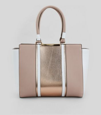 Rose Gold Metallic Contrast Panel Tote Bag