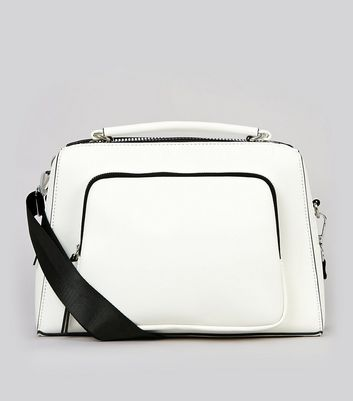 White Chunky Zip Luggage Bag