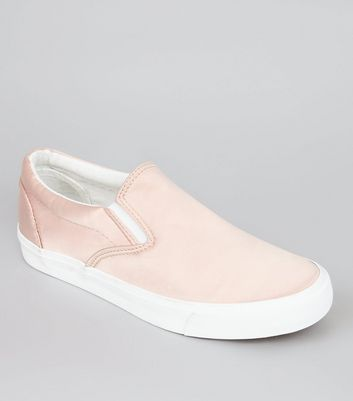 Pink Satin Slip On Plimsolls