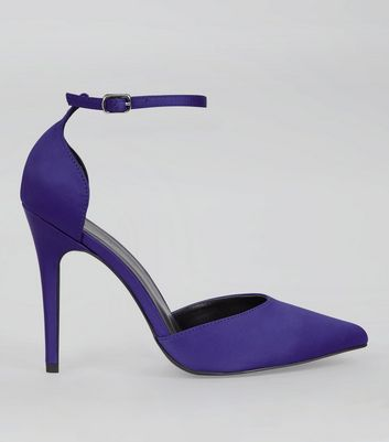 Blue Satin Pointed Heels