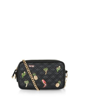 Black Quilted Tropical Pin Camera Bag