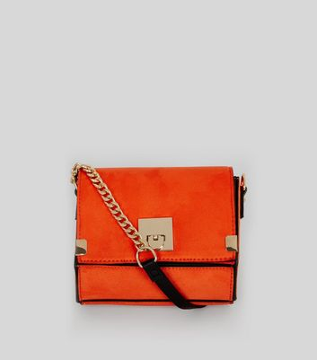 Orange Textured Mini Cross Body Bag