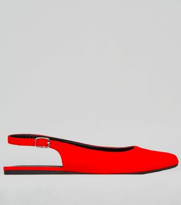 Wide Fit Red Suedette Sling Back Ballet Pumps