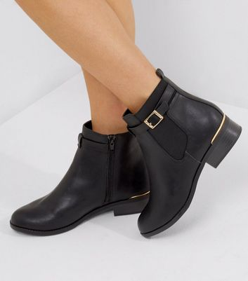 Black Buckle Strap Metal Trim Chealsea Boots