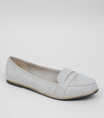 Wide Fit Grey Suedette Metal Trim Loafers