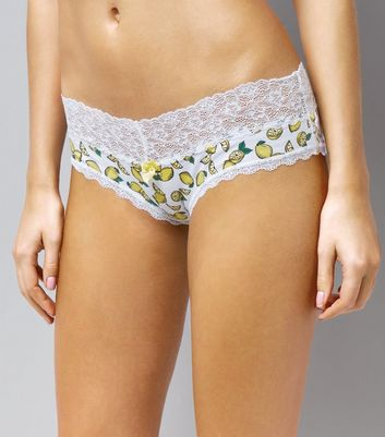 White Lemon Print Lace Hem Brazilian Briefs