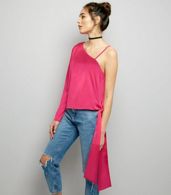 Pink Sateen One Shoulder Tie Side Top