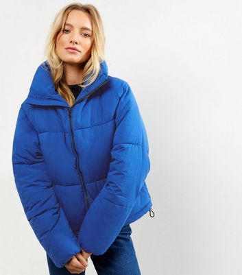 Tall Blue Cropped Puffer Jacket