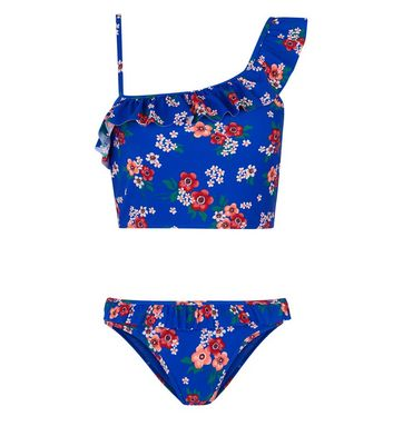 Teens Blue Lace One Shoulder Frill Trim Tankini