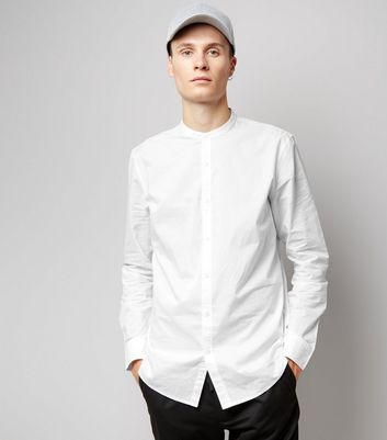 White Cotton Grandad Collar Long Sleeve Shirt