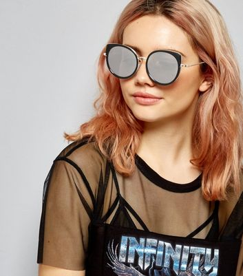 Black Retro Cat Eye Mirrored Sunglasses