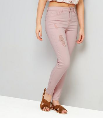 Teens Shell Pink Ripped Skinny Jeans