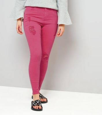 Teens Bright Pink Ripped Skinny Jeans