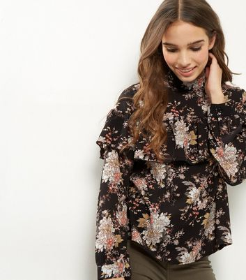 Influence Black Floral Print Frill Trim Top