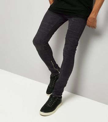 Black Zip Hem Super Skinny Stretch Jeans