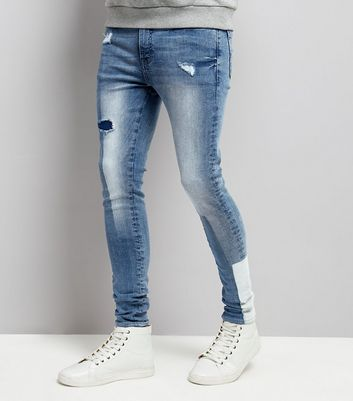 Pale Blue Patchwork Super Skinny Jeans