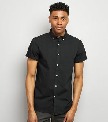 Black Washed Cotton Short Sleeve Shirt