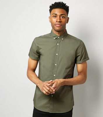 Green Washed Cotton Short Sleeve Shirt