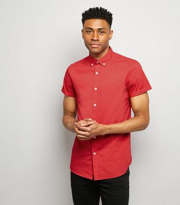 Red Washed Cotton Short Sleeve Shirt