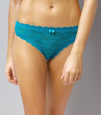 Blue Lace Thong