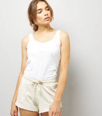 Cream Tie Waist Shorts