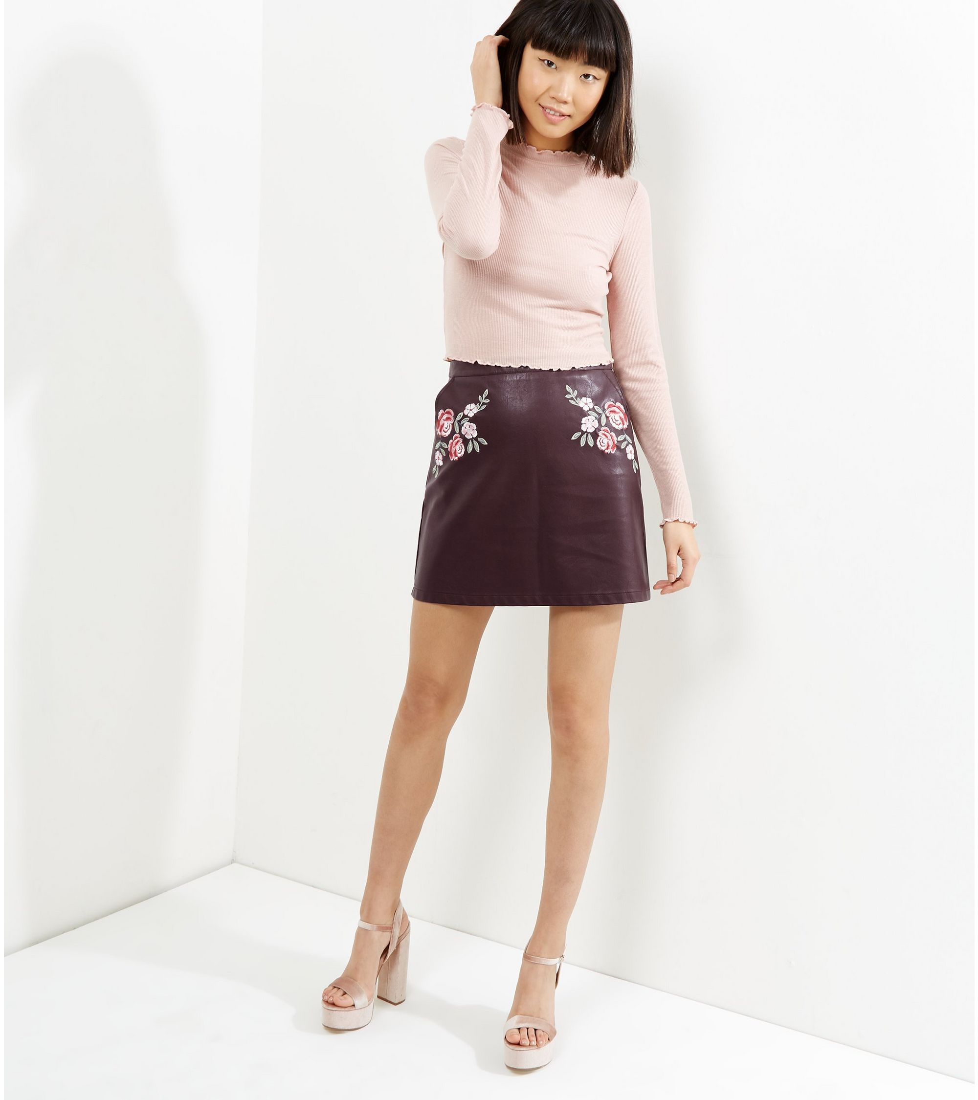 cc85326b2 New Look Burgundy Leather Skirt