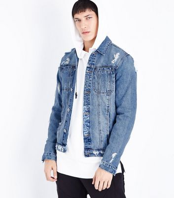 Blue Ripped Zip Sleeve Denim Jacket